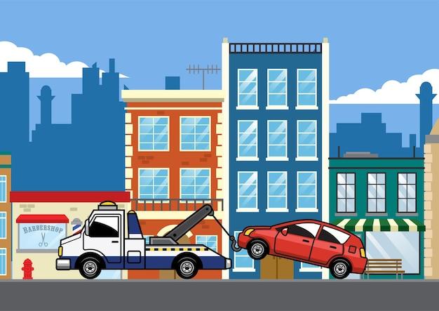 Abschleppwagen ziehen auto