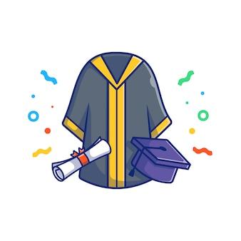 Abschluss illustration. abschlussanzug, mütze und diplom. bildungskonzept weiß isoliert
