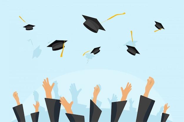 Abschluss-studenten oder schülerhände im kleid, das abschlusskappen in der luft wirft