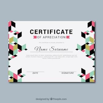 Abschluss-zertifikat mit geometrischen formen
