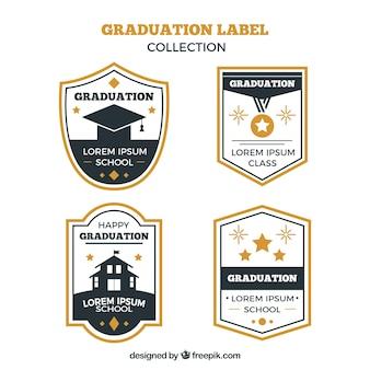 Abschlussaufklebersammlung mit flachem design