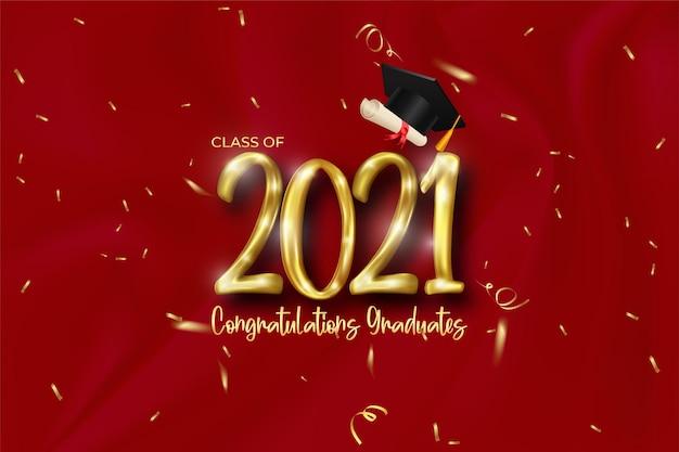 Abschlussbanner der klasse 2021 mit goldener nummer, konfetti, diplom und kappe
