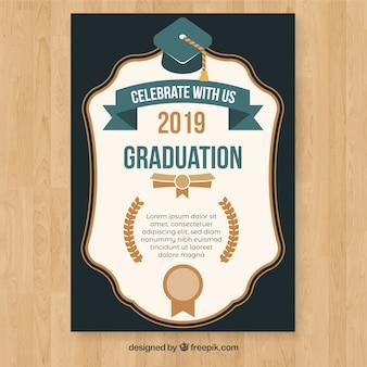 Abschlusseinladungsschablone mit flachem design