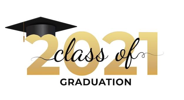 Abschlussfeier klasse von 2021 mit abschlusskappenhut