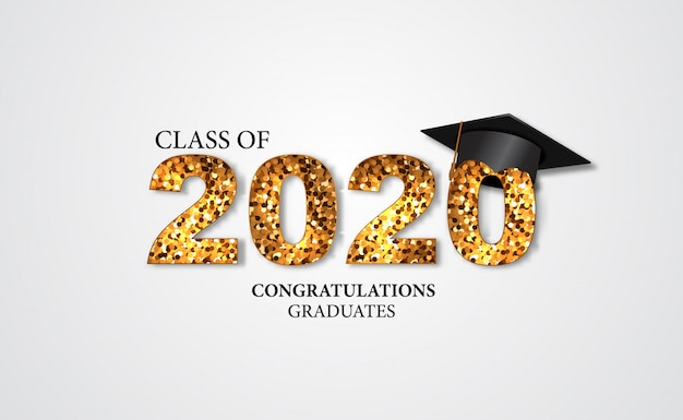Abschlussfeierillustration für klasse von glückwunschabsolvent 2020 mit goldenem text und kappen