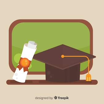 Abschlusskappe und -diplom mit flachem design
