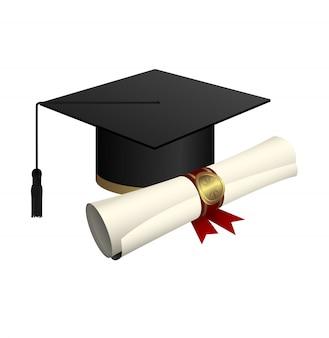 Abschlusskappe und diplomdesignillustration lokalisiert auf weißem hintergrund