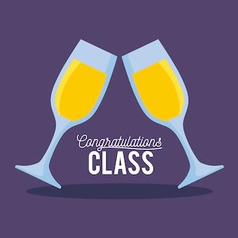 Abschlussklasse-feierkarte mit schalen champagner