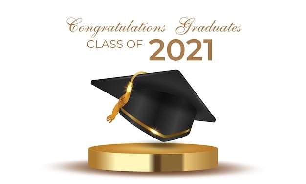 Abschlussklasse von 2021 mit abschlusskappenhut auf goldpodest