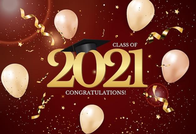 Abschlussklasse von 2021 mit abschlusskappenhut und konfetti