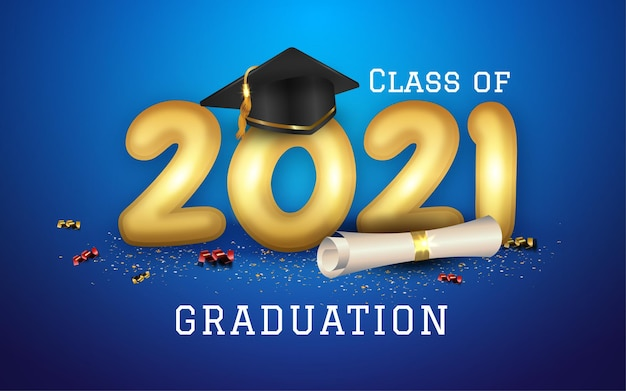 Abschlussklasse von 2021 mit abschlusskappenhut