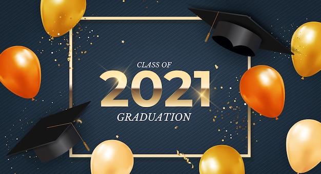 Abschlussklasse von 2021 mit abschlusskappenhutballons und konfetti