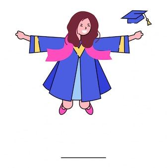 Abschlussmädchencharakter, schulabschlussstudent halten diplom im hut auf weiß, illustration. abschluss der sekundarstufe.