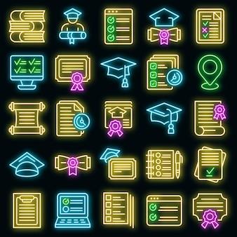 Abschlussprüfung icons set vektor neon