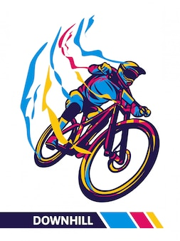 Abschüssige mountainbike-bewegungsillustration