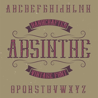 Absinth-etikettenschrift und musteretiketten-design mit dekoration. handgefertigte schrift, gut geeignet für alle vintage-etiketten.