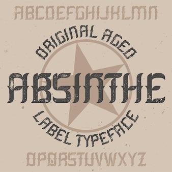 Absinth-etikettenschrift und musteretiketten-design mit dekoration.