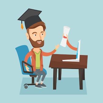 Absolvent, der diplom vom computer erhält.