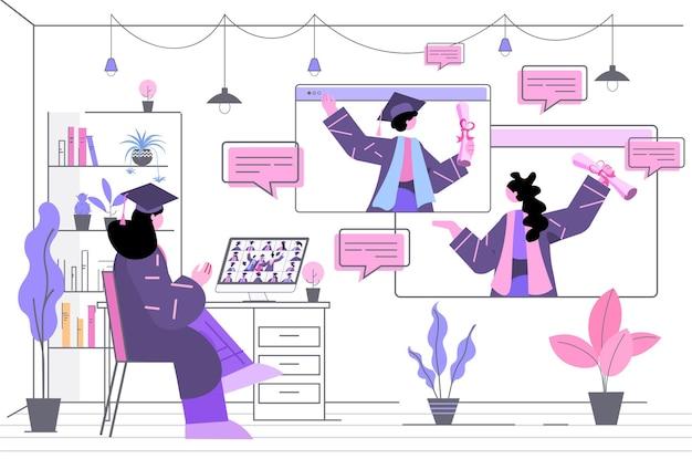 Absolventen diskutieren während des videoanrufs absolventen feiern akademisches diplomstudium hochschulzertifikat online-kommunikationskonzept horizontal