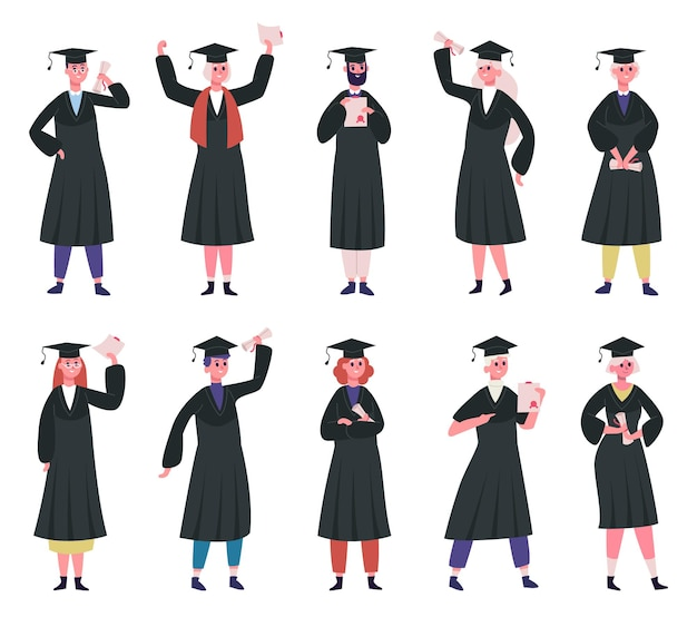 Absolventen. hochschulabsolventen tragen traditionelle mützen und akademische robe