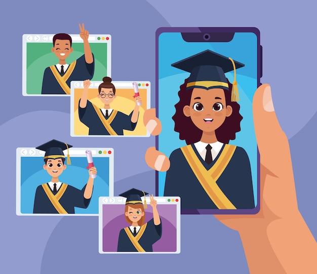 Absolventen in smartphone und webseiten