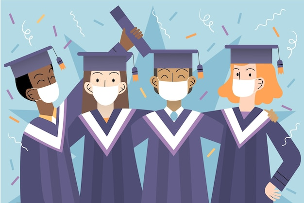 Absolventen mit medizinischen masken
