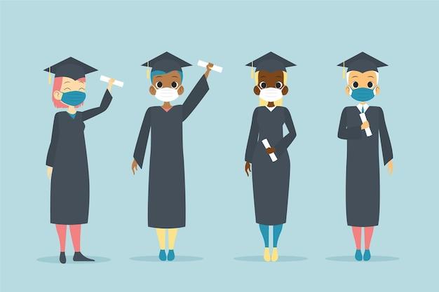 Absolventen tragen gesichtsmasken sammlung