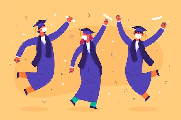 Absolventen tragen gesichtsmasken