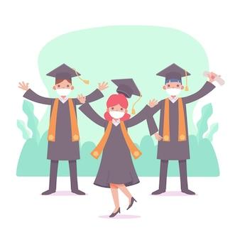 Absolventen tragen masken