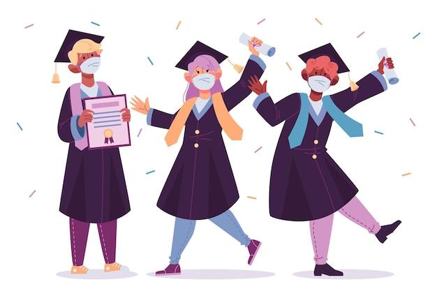 Absolventen tragen maskenkonzept