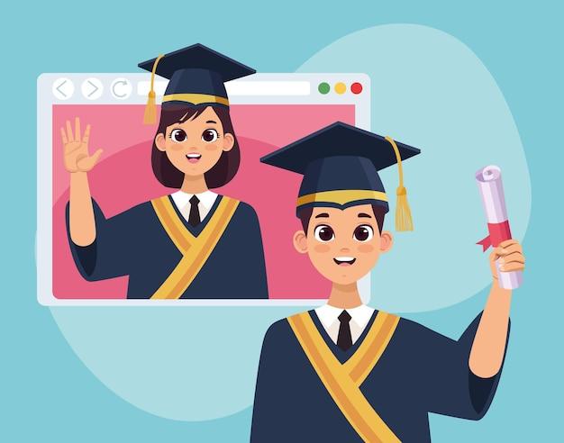 Absolventenpaar in webseite