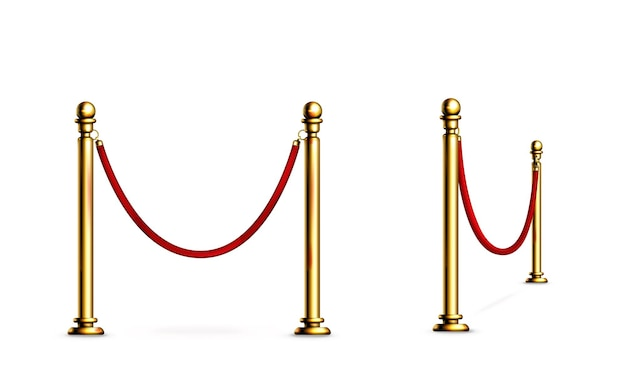 Absperrung mit seil und goldstangenzaun für roten teppich oder vip-event