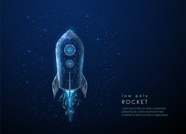 Abstact rakete fliegt in den raum