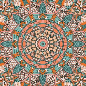 Abstammung vintage abstrakte geometrische ethnische nahtlose muster dekorativ. afrikanisches wildes mandala