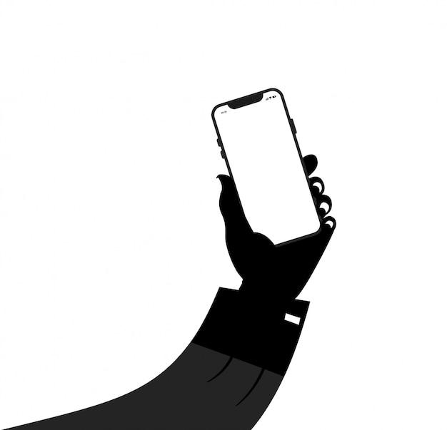 Abstarct schwarzweiss-hand, die mobile hält