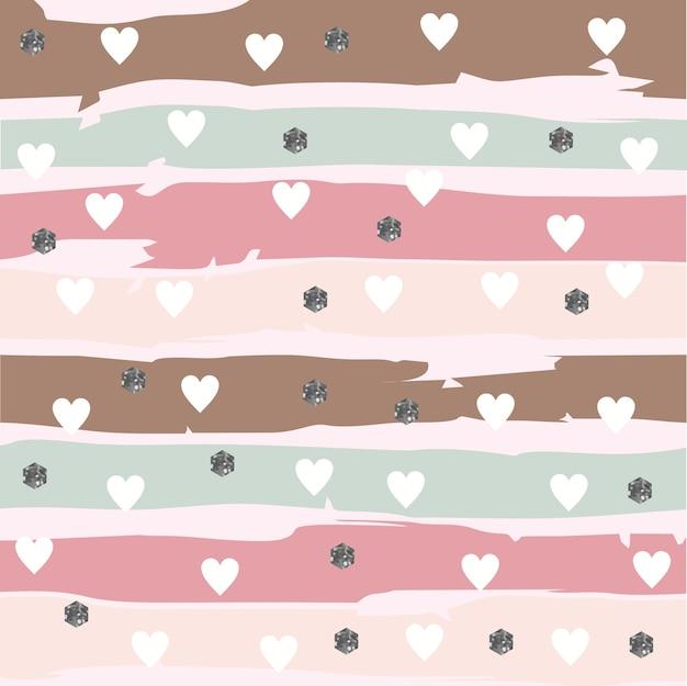 Abstarct striped pattern mit herzen und glittery hexagon