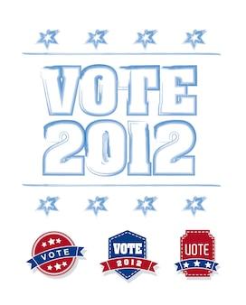 Abstimmung 2012 mit blauen und roten tags über weißem hintergrund vektor