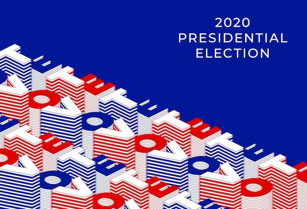 Abstimmung 2020 banner. präsidentschaftswahl 2020 der vereinigten staaten von amerika