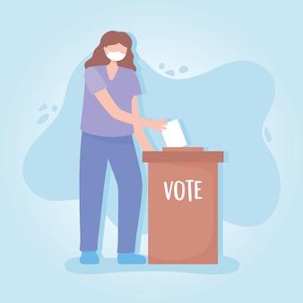 Abstimmung und wahl, junge frau mit schutzmaske, die stimmzettel in kasten einfügt