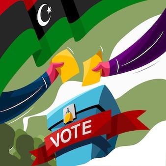 Abstimmung zum wahltag des staates libyen Premium Vektoren