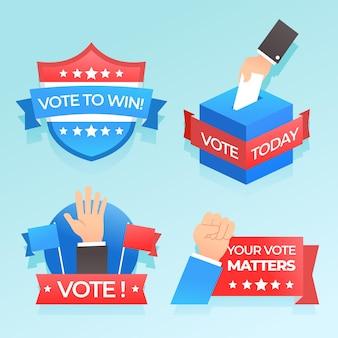 Abstimmungsabzeichen und aufkleber gesetzt