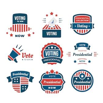 Abstimmungsabzeichen und aufkleber packen
