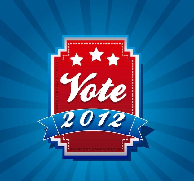 Abstimmungsaufkleber über blauer hintergrundvektorillustration