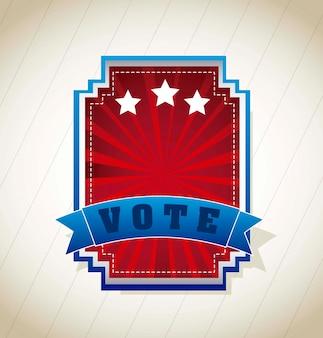 Abstimmungsaufkleber über weinlesehintergrund-vektorillustration