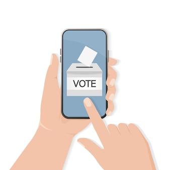 Abstimmungsbox, ideal für jeden zweck. abstimmungshand. minimal. illustration.