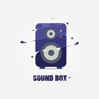 Abstrac sound box vektor-logo flache illustration premium-vektor