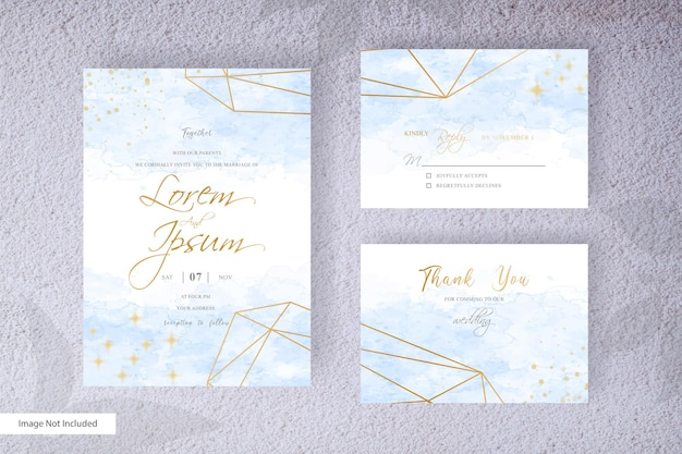 Abstrack hochzeitseinladungskarte set vorlage mit bunten handgemalten flüssigen aquarell