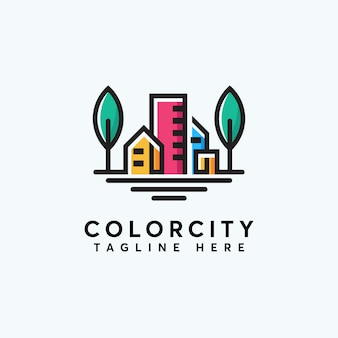 Abstrack premium-farbstadt-logo