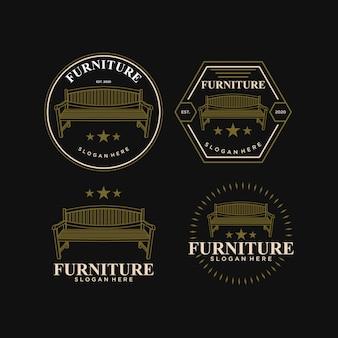 Abstrack stuhl möbel vintage logo design vorlage premium