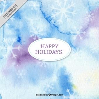 Abstract aquarell hintergrund mit dekorativen schneeflocken